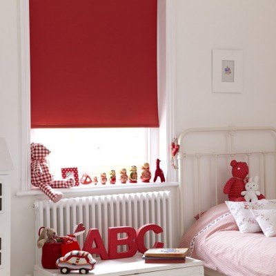 Red bedroom blackout blind