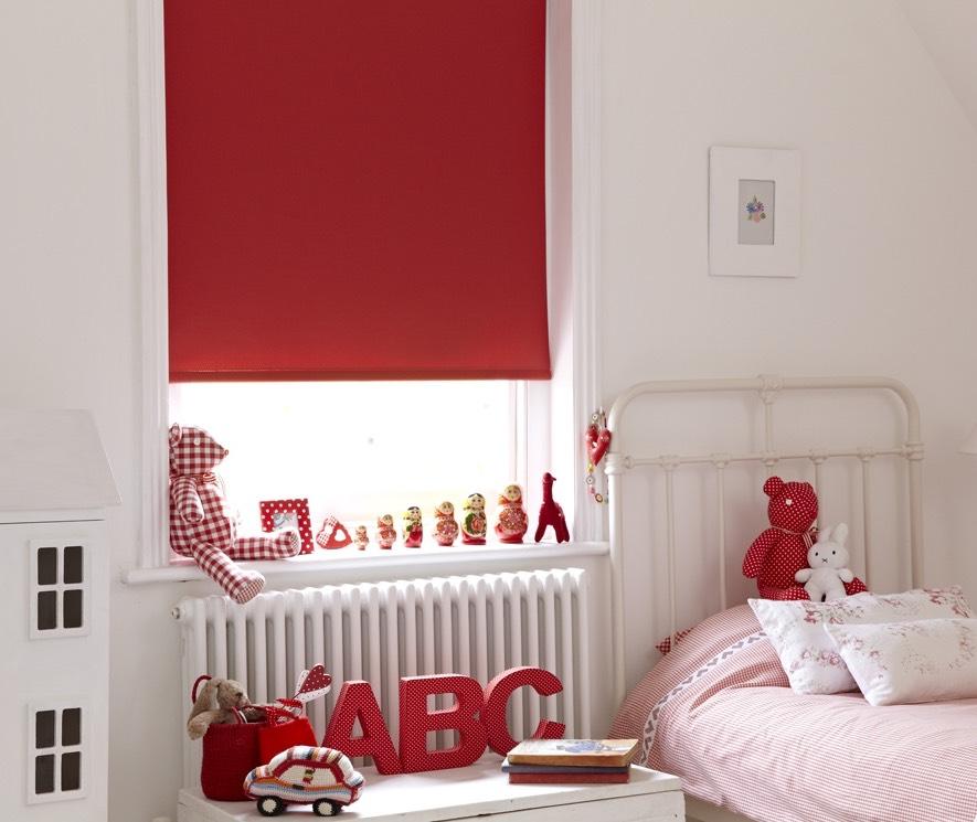Red bedroom blackout blind