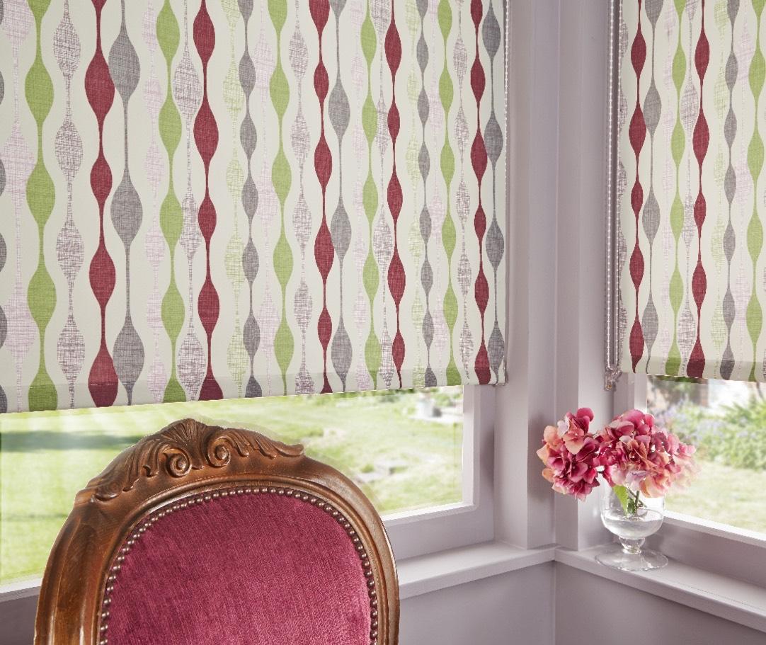 Close up of patterned roller blinds