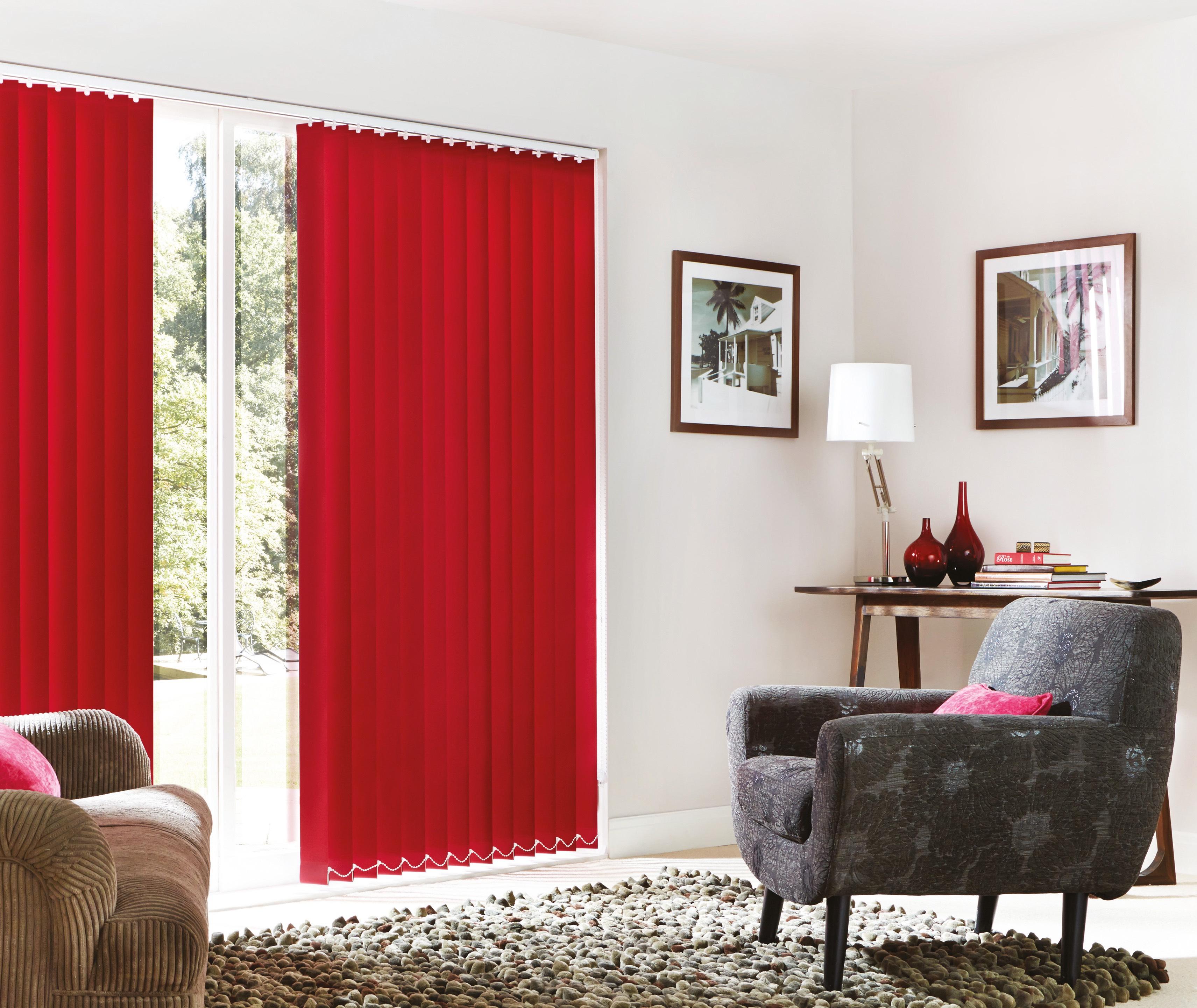 Room shot of red vertical blinds